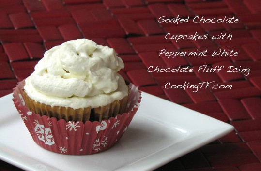 Peppermint White Chocolate Fluff Icing with Soaked Chocolate Cake